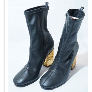 Topshop Haven Electroplated Black Sock Ankle Boots